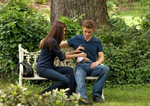 el diario de los vampiros fondo de pantalla called Elena and Stefan in The Vampire Diaries season 2