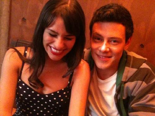 Lea and Cory on set