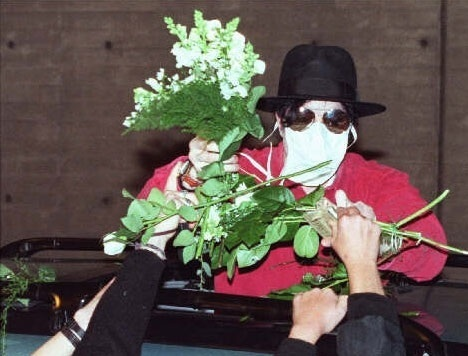 Michael covered in flowers