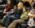 Nicole at Lakers Game with Connor and Isabella