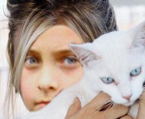cute fake pic paris and tha cat have the same eye color