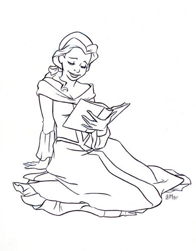 Belle पढ़ना a Book in Black and White