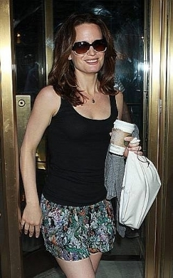 Elizabeth arriving at the Pix11 morning news.
