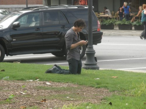 Ian on set TVD