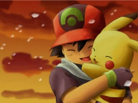 pikachu and Ash Hug
