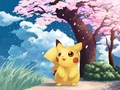 Pikachu and kers-, cherry Blossoms