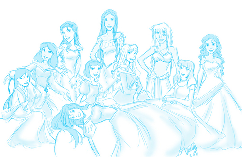 Sketches of Princesses if they posed for Vaniety Fair