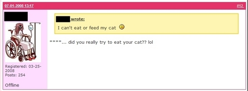 """I can't eat my cat"" ^.^"