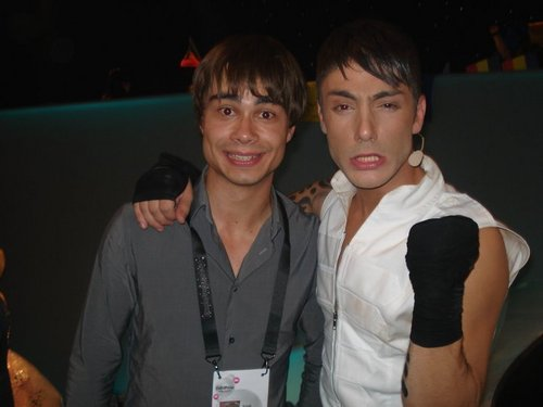 Alex with a greek dancer in ESC 2010 backstage