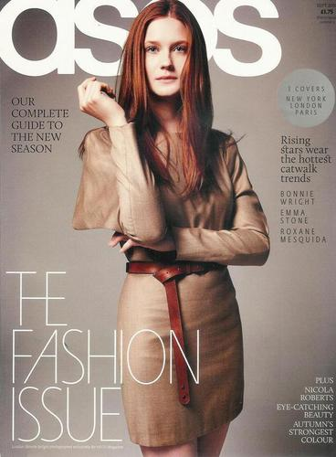 Bonnie Wright as cover model for the September fall issue of ASOS magazine, courtesy of BWO