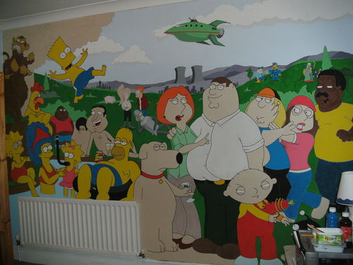 심슨 가족 바탕화면 called Mural of the simpsons, Family guy, Cleveland show & 퓨쳐라마