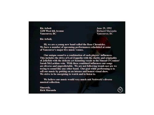 Rich Maranda's letter to Nettwerk