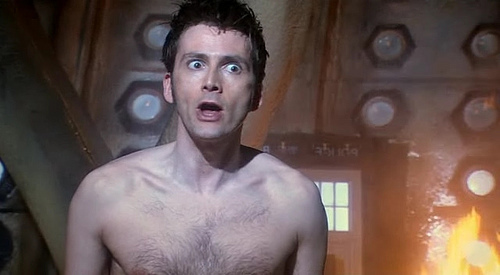 Tenth Doctor almost naked