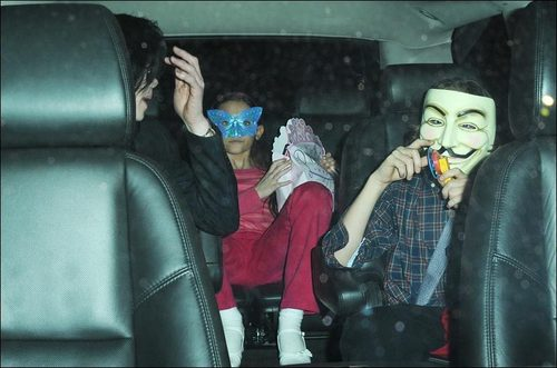 michael ,prince ,paris . in a car with mask on