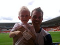 my son and darren at charity match at keepmoat doncaster - hollyoaks photo