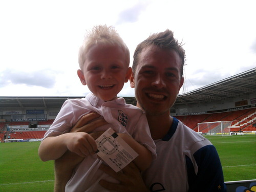 my son and darren at charity match at keepmoat doncaster