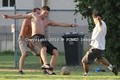 football shirtless