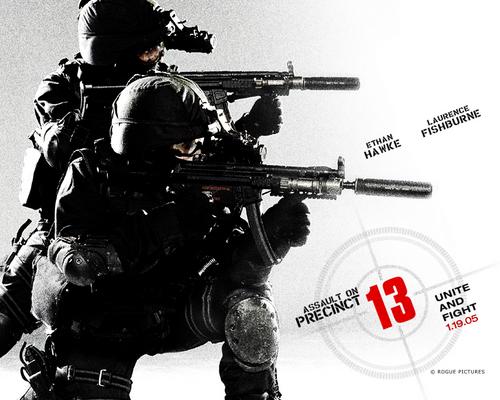 Action Films fondo de pantalla containing a rifleman, a green beret, and a navy sello titled Assault on Precinct 13 (2005)