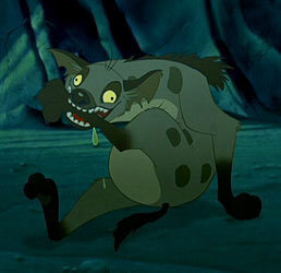 Hyenas from Lion King achtergrond titled Ed biting his leg