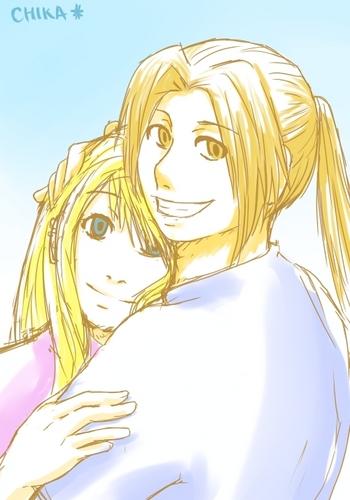 Edward Elric and Winry Rockbell karatasi la kupamba ukuta called Hugs