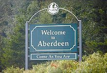"""In 2005, a sign was put up in Aberdeen, Washington that reads """"Welcome to Aberdeen - Come As আপনি Are"""