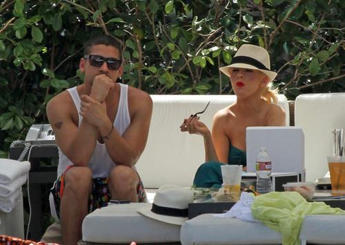 Kim Kardashian and Christina Aguilera at the Pool