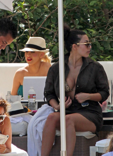 Kim Kardashian and Christina Aguilera at the Pool