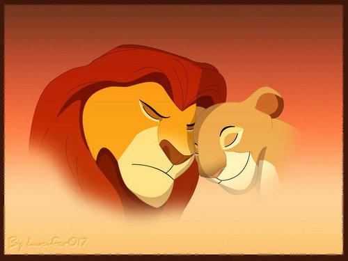 The Lion King kertas dinding entitled Mufasa and Sarabi