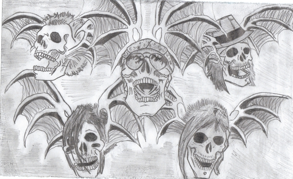 My drawing of Avenged Sevenfold Deathbats - avenged-sevenfold fan art