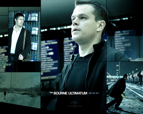 Action Films wallpaper containing a television receiver and a sign entitled The Bourne Ultimatum