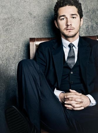 Shia LaBeouf karatasi la kupamba ukuta with a business suit, a suit, and a well dressed person called ukuta mitaani, mtaa 2 : Money Never Sleeps Photoshoot