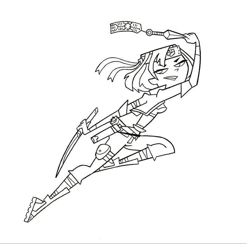 Line Art Ninja : Total drama izzy free colouring pages