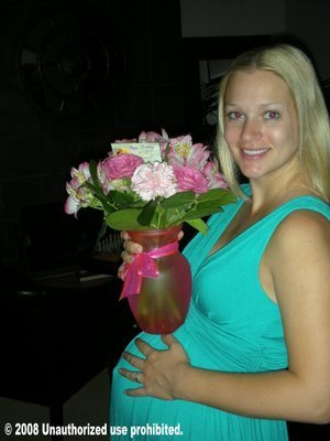 AJ Cook wallpaper probably containing a bouquet titled A.J. pregnant