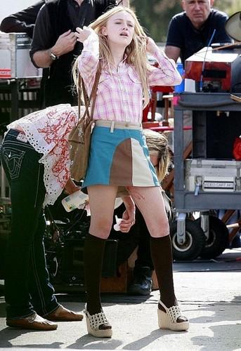 Dakota on the set