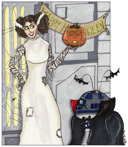 Leia and R2 at Halloween
