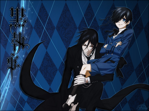 Kuroshitsuji wallpaper possibly with a business suit called Sebastian and Ciel