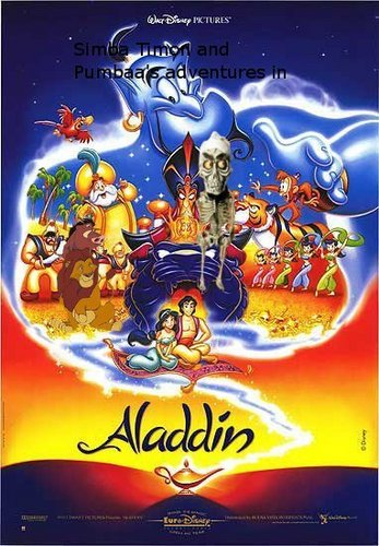 Simba Timon and Pumbaa's adventures in aladdín movie poster