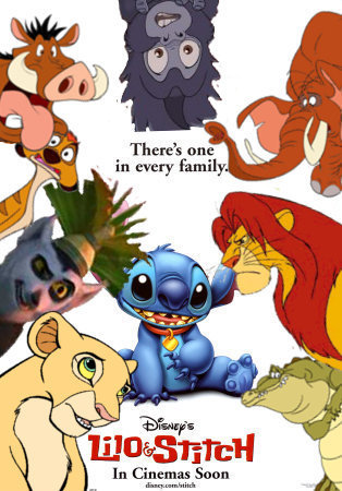 Simba Timon and Pumbaa's adventures in Lilo and Stitch movie poster