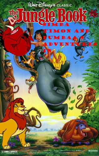 Simba Timon and Pumbaa's adventures in The Jungle Book movie poster