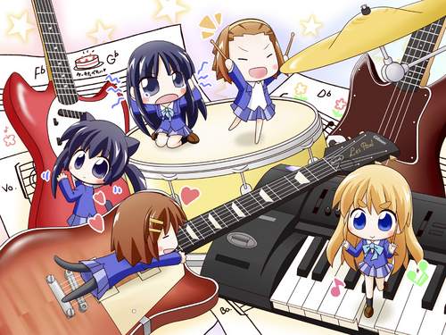 K-ON! wallpaper possibly with anime entitled chibi k-on