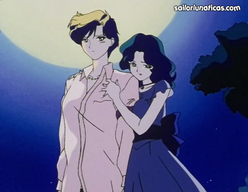 Sailor Uranus and Sailor Neptune karatasi la kupamba ukuta with anime titled michiruharuka