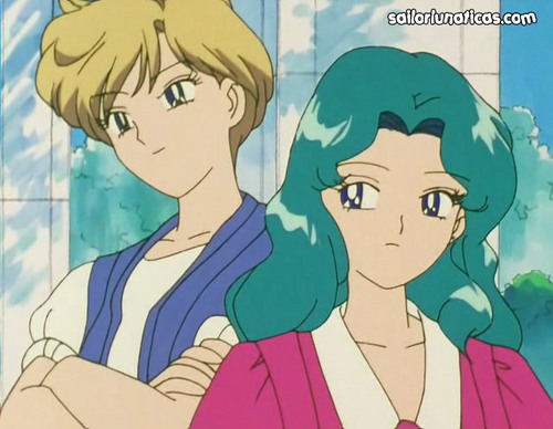 Sailor Uranus and Sailor Neptune karatasi la kupamba ukuta with anime entitled michiruharuka