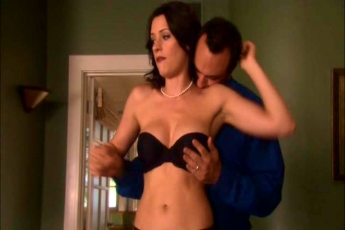Paget Brewster wallpaper probably with a brassiere, attractiveness, and a lingerie titled HUFF {1x11- The Sample Closet}