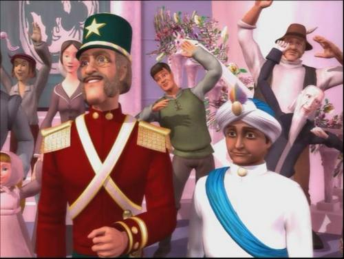Barbie in the Nutcracker achtergrond probably with uniform, regimentals, a bandsman, and a full dress uniform called Major Mint and Captain Candy watch Clara and Eric kiss