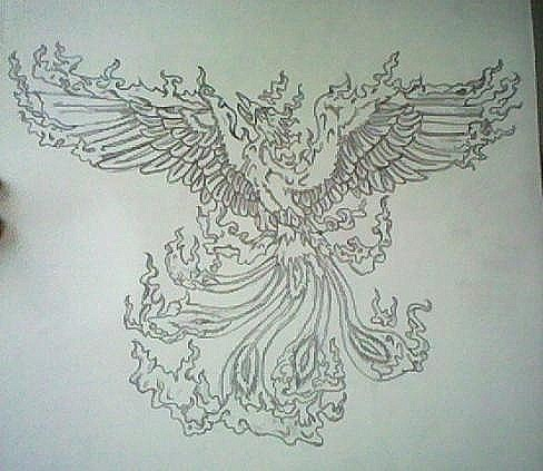 Drawing karatasi la kupamba ukuta possibly with a sign called Phoenix