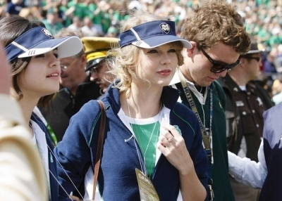 Selena and Taylor at a Notre Dame Football Game on Sep 4