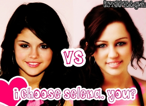 Miley Cyrus vs. Selena Gomez kertas dinding with a portrait titled miley vs selen.a