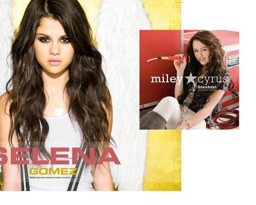Miley Cyrus vs. Selena Gomez karatasi la kupamba ukuta possibly with a sign and a portrait called miley vs selena