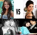 miley vs selena - miley-cyrus-vs-selena-gomez fan art
