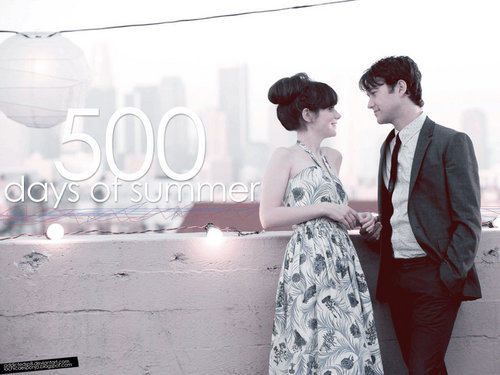 500 Days of Summer wallpaper possibly with a bridesmaid, a dinner dress, and a cocktail dress called summer and tom